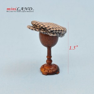 Hand crafted flat cap hat barrett on stand for dollhouse miniature 1:12 scale