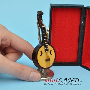 "Miniature lute musical instruments  with Case and stand for Dollhouse 3"" Long"