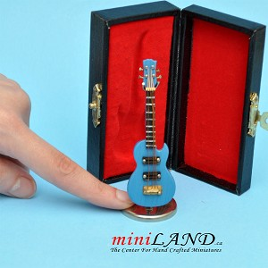 "Miniature blue Electric Guitar  with Case and stand for Dollhouse 3-1/4"" Long"