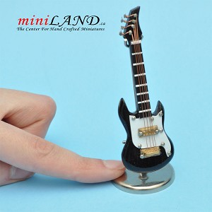 "Miniature black white Electric bass Guitar  with Case and stand for Dollhouse 3-1/4"" Long"
