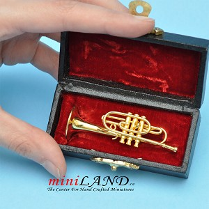 "Miniature Brass Trumpet  with Case for Dollhouse 2-1/2"" long"