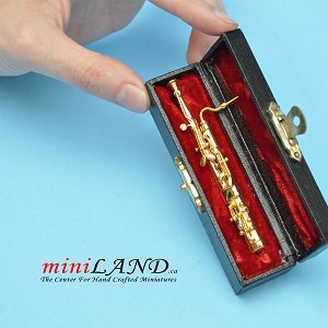 "Miniature Metal Bassoon  with Case for Dollhouse 3-1/4"" Long"