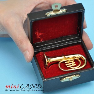 "Miniature brass tuba  with Case for Dollhouse 2-1/4"" Long"