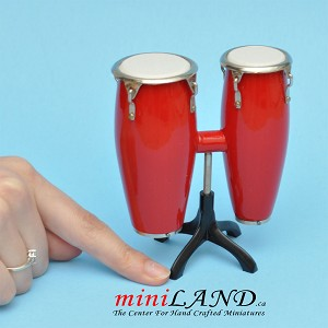 "Miniature red drum Conga musical instruments  with Case and stand for Dollhouse 3-7/8"" tall"