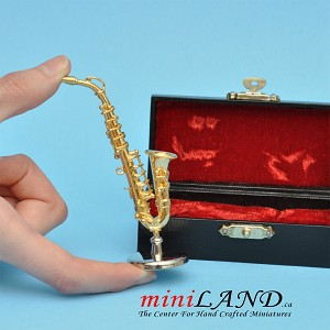 "Miniature Alto Saxophones instrument with Case and stand for Dollhouse 3-1/4"" long"