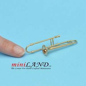 "Miniature trombone instrument  for Dollhouse 2-1/4"" long"