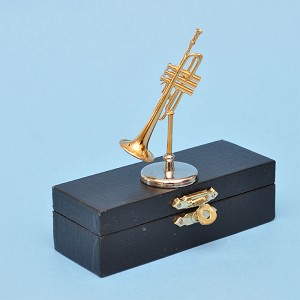 "Miniature Brass Trumpet  musical instruments on stand with Case for Dollhouse 2-1/2"" long"