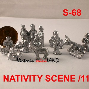 "NATIVITY SCENE 11 PCS S-68 7/8""H unfinished DIY metal miniature for dollhouse - Do it yourself"