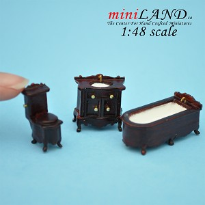 1:48 Scale bathroom set, Toilet, bathtub, sink 3pcs set MH