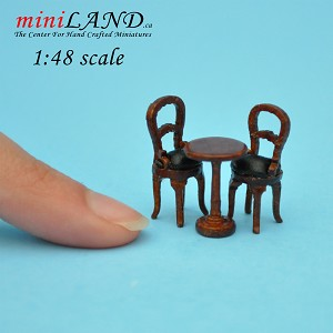 1:48 Scale Bistro table and two chairs 3pcs set