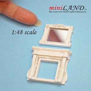 1:48 Scale Fireplace and mirror White