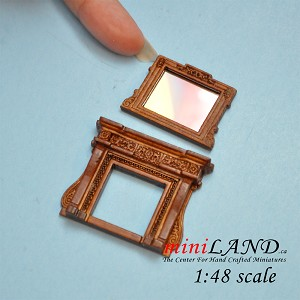 "1:48 1/4"" quarter scale  Fireplace and mirror Walnut Victorian for dollhouse miniature Top quality"