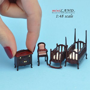 "1:48 1/4"" quarter scale Victorian baby nursery room set 4pcs Top quality MH"