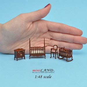 "1:48 1/4"" quarter scale Victorian baby nursery room set 4pcs Top quality Walnut"