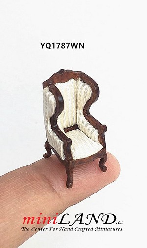 "1:48 1/4"" quarter scale Winged Arm Chair walnut-white for dollhouse miniature"