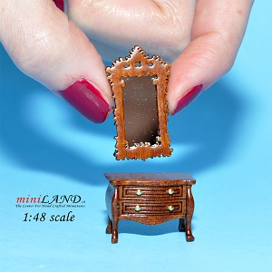 "1:48 1/4"" quarter scale Victorian dresser with mirror room set 2pcs Top quality Walnut"