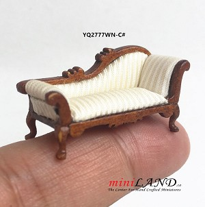 "1:48 1/4"" quarter scale chaise lounge sofa white Top quality walnut for dollhouse miniature"