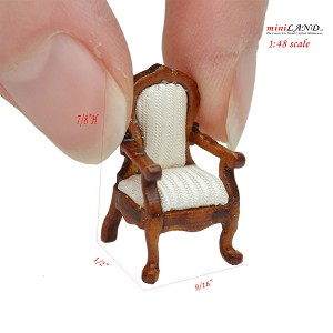 1:48 1/4' quarter scale handcrafted Victorian Rococo arm chair for dollhouse miniature