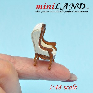 "1:48 1/4"" quarter scale Victorian Canopy hooded chair for dollhouse Top quality Walnut white"