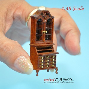"1:48 1/4"" quarter Blockfront Secretary office desk Top quality walnut for dollhouse miniature"