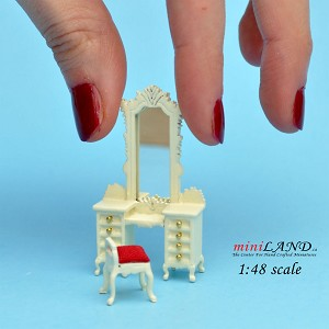 "1:48 1/4"" quarter scale Victorian dresser with mirror and stool set 2pcs Top quality White"