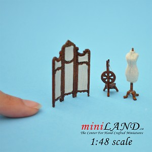1:48 Scale sewing room set 3pcs dress form, screen, Spinning Wheel