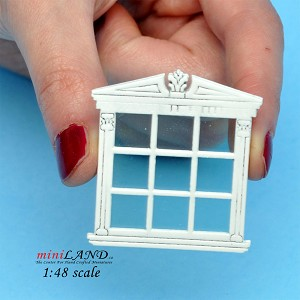 "1:48 1/4"" quarter scale double window Top quality white with Plexiglas"