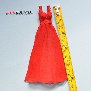 Hand crafted Red nightgown for dollhouse miniature 1:12 scale