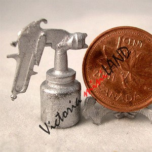 "SPRAY GUN 1""H unfinished DIY metal miniature for dollhouse - Do it yourself"