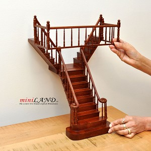 "Quality Y Staircase 1:12 Scale Miniature Wooden dollhouse stair WN with rails for 12"" Ceiling height"