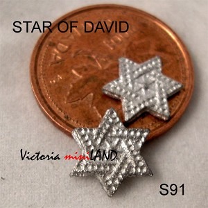 "STAR OF DAVID 2 PCS 1/4""H DIY metal miniature for dollhouse - Do it yourself"