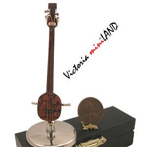 "Miniature Samisen musical instruments  with Case and stand for Dollhouse 2-3/4"" Long"