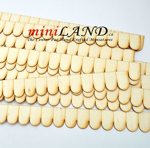 "12 pcs Shingles Strip Fishscale  19.5"" each  laser cut 1/12 scale dollhouse roofing wood"