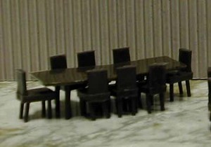 DINING Table and chairs 1:48 9PC Plastic