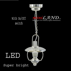 Hanging silver oil lamp LED Super bright with On/off switch