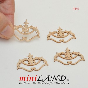 Wood Carved flowers Onlay Applique Unpainted 4pc for 1:12 dollhouse miniatures V013