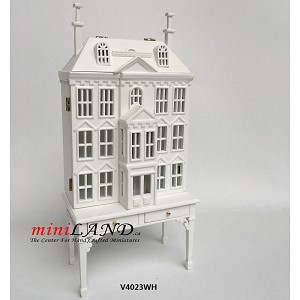 Victorian Dollhouse for dollhouse with table white 1:144 scale -Top Quality