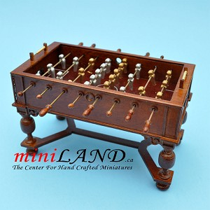 Walnut Foosball table dollhouse miniature 1:12 pub game room A