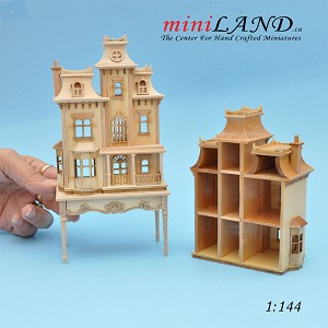 Victorian back opening DOLLHOUSE FOR DOLLHOUSE WITH TABLE Unfinished 1:144 scale -Top Quality