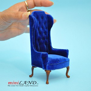 Luxurious Elegant Quality Tall Wingback Chair Royal Blue Velvet for dollhouse miniature 1:12 scale