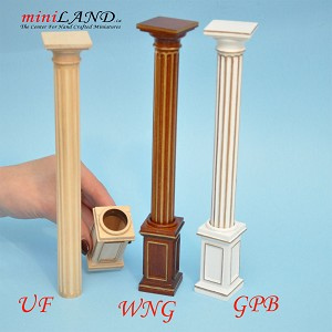 "Round column 4""-10""  telescopic, wood for 1:12 dollhouse miniature White with gold"