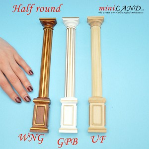 "Half Round column 4""-10""  telescopic, wood for 1:12 dollhouse miniature unfinished"