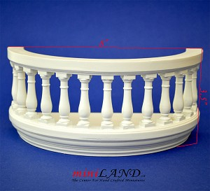 "Big Wooden Romeo and Juliet round balcony 4""R white for 1:12 dollhouse miniature"