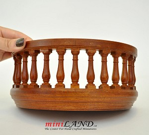 "Big Wooden Romeo and Juliet round balcony 4""R walnut for 1:12 dollhouse miniature"