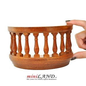 "Wooden Romeo and Juliet round balcony 3""R walnut for 1:12 dollhouse miniature"