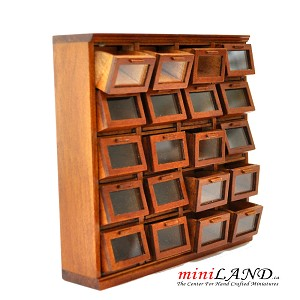 General store grain bin cabinet with 20 Tilt Out drawers WALNUT for 1:12 dollhouse miniature