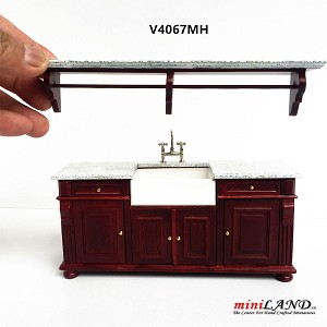 Mahogany Victorian quality Kitchen sink unit counter with shelf metal silver tap 1:12 dollhouse miniature