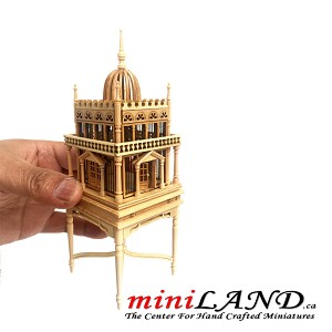 A magnificent wooden colonial bird cage for 1:12 dollhouse miniature OAK birdcage