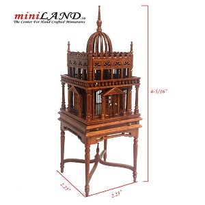 A magnificent wooden colonial bird cage for 1:12 dollhouse miniature WALNUT birdcage