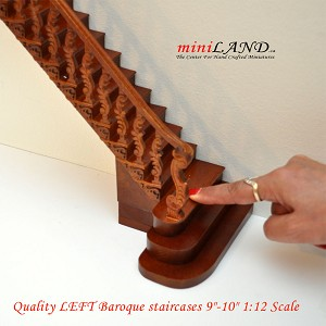 "Quality Baroque staircase 9""-10"" 1:12 Scale Miniature Wooden dollhouse stair WN with railing LEFT"